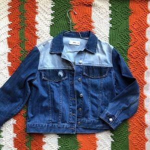 MANGO Two toned Color block Denim Jacket